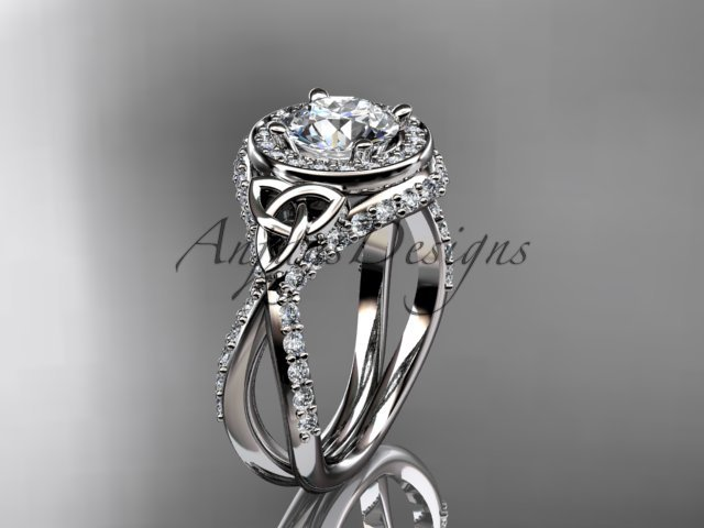 14kt white gold diamond celtic trinity knot, engagement ring with a Moissanite center stone CT7416