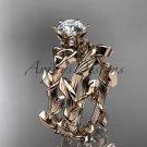 14kt rose gold diamond celtic trinity knot wedding ring, engagement set CT7248S