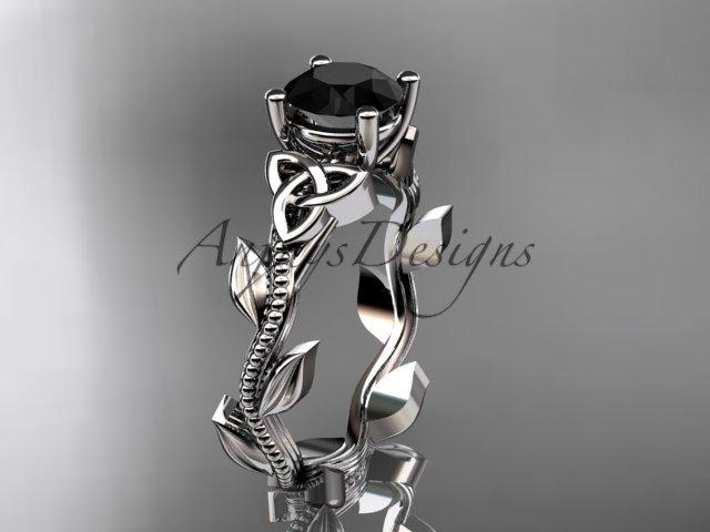 Platinum  celtic trinity knot wedding ring with a Black Diamond center stone CT7238