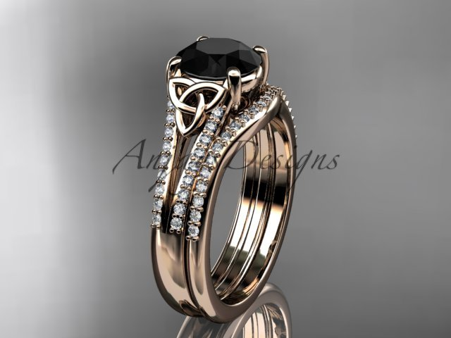 14kt rose gold celtic trinity knot engagment set with a Black Diamond center stone CT7108S