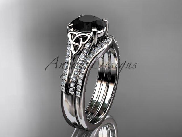Platinum celtic trinity knot engagment set with a Black Diamond center stone CT7108S