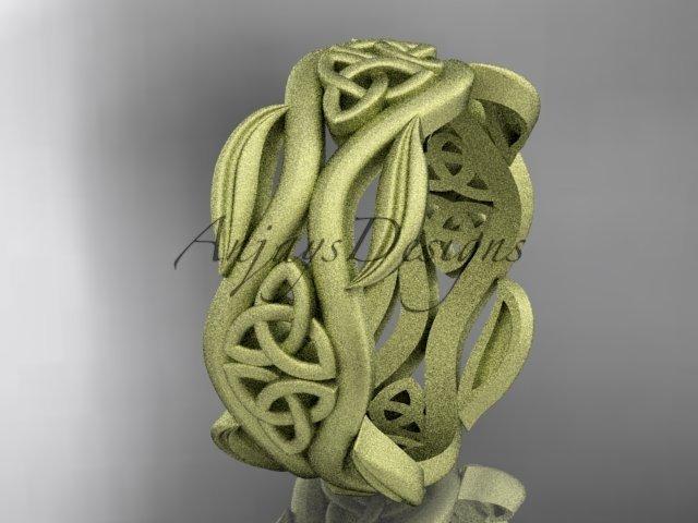 14k yellow gold celtic trinity knot wedding band, matte finish wedding band, engagement ring CT7264G