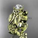 14kt yellow gold celtic trinity knot engagement ring, Moissanite center stone CT7264 CT7264