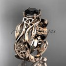 14kt rose gold celtic trinity knot engagement ring with a Black Diamond center stone CT7264