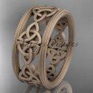 14kt rose gold celtic trinity knot wedding band, matte finish wedding band, engagement ring CT7236G