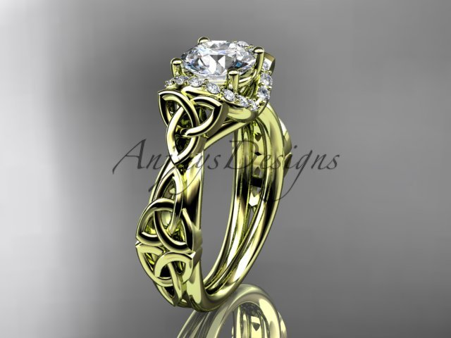 14kt yellow gold diamond celtic trinity knot wedding ring, engagement ring CT7289