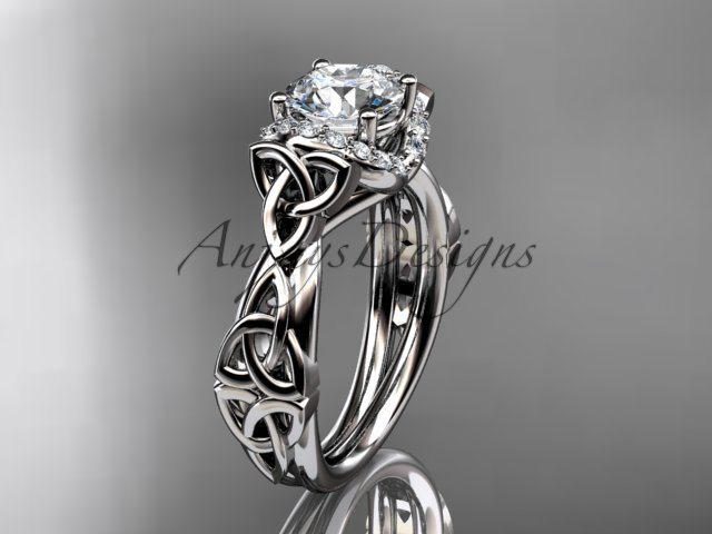 Platinum  diamond celtic trinity knot wedding ring, engagement ring CT7289