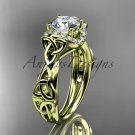 14kt yellow gold diamond celtic trinity knot wedding ring, engagement ring, Moissanite CT7289