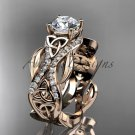 14kt rose gold diamond celtic trinity knot engagement ring with a Moissanite center stone CT7515