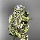 14kt yellow gold diamond celtic trinity knot engagement ring with a Moissanite center stone CT7515