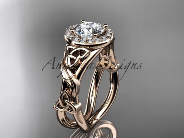 14kt rose gold diamond celtic trinity knot wedding ring, engagement ring CT7302