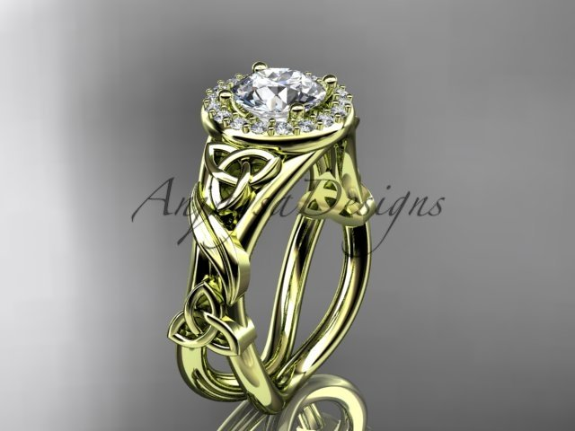 14kt yellow  gold diamond celtic trinity knot wedding ring, engagement ring CT7302