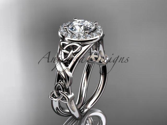 platinum  diamond celtic trinity knot wedding ring, engagement ring CT7302