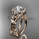 14kt rose gold diamond celtic trinity knot engagement ring with a Moissanite center stone CT7302