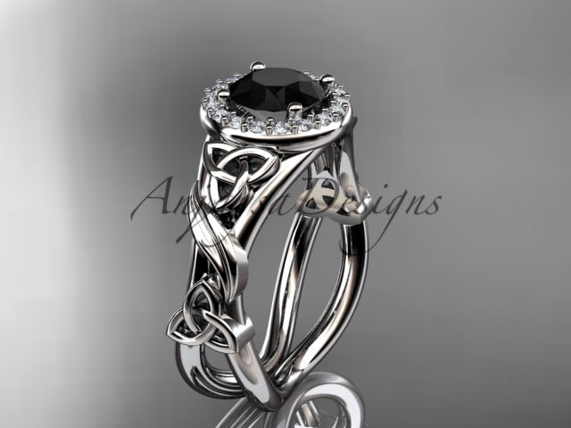 14kt white gold diamond celtic trinity knot engagement ring with a Black Diamond center stone CT7302
