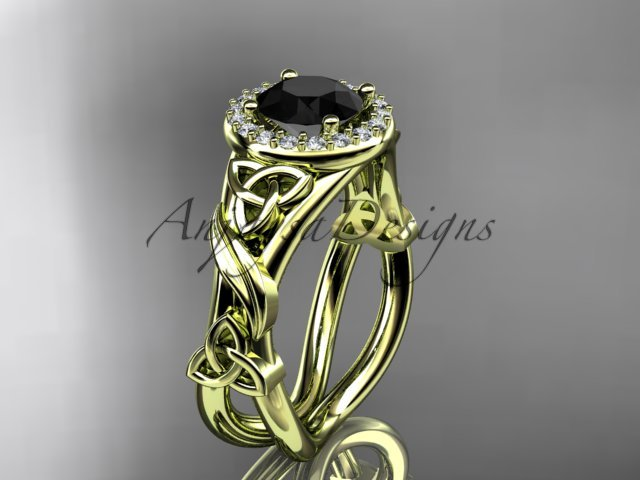 14k yellow gold diamond celtic trinity knot engagement ring with a Black Diamond center stone CT7302