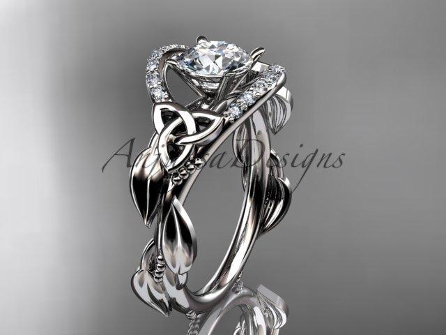 14kt white gold diamond celtic trinity knot wedding ring, engagement ring CT7326