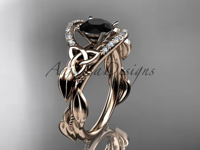 14kt rose gold diamond celtic trinity knot engagement ring with a Black Diamond center stone CT7326