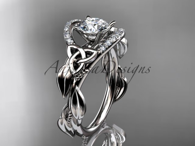 14kt white gold diamond celtic trinity knot engagement ring with a Moissanite center stone CT7326