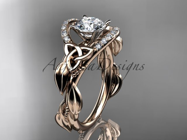 14kt rose gold diamond celtic trinity knot engagement ring with a Moissanite center stone CT7326