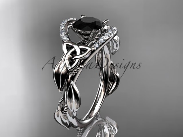 14kt white gold diamond celtic trinity knot engagement ring with a Black Diamond center stone CT7326