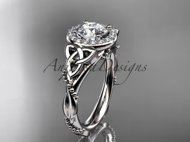 14kt white gold diamond celtic trinity knot engagement ring with a Moissanite center stone CT7328