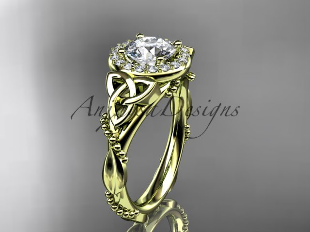 14kt yellow gold diamond celtic trinity knot engagement ring with a Moissanite center stone CT7328