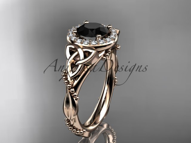 14kt rose gold diamond celtic trinity knot engagement ring with a Black Diamond center stone CT7328