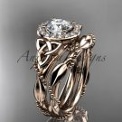 14kt rose gold diamond celtic trinity knot engagement set with a Moissanite center stone CT7328S