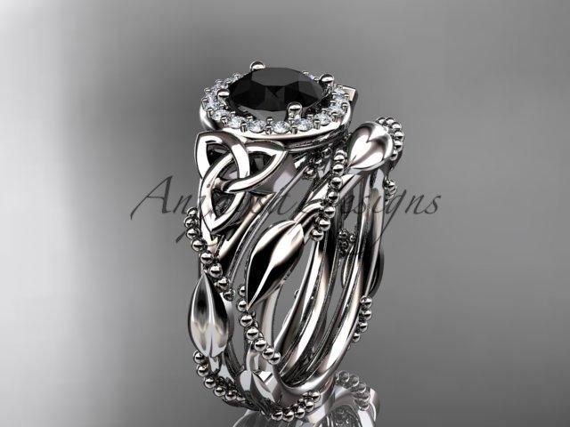 14kt white gold diamond celtic trinity knot engagement set with a Black Diamond center stone CT7328S