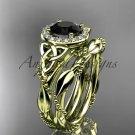 14k yellow gold diamond celtic trinity knot engagement set with a Black Diamond center stone CT7328S