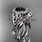 Platinum diamond celtic trinity knot engagement set with a Black Diamond center stone CT7328S