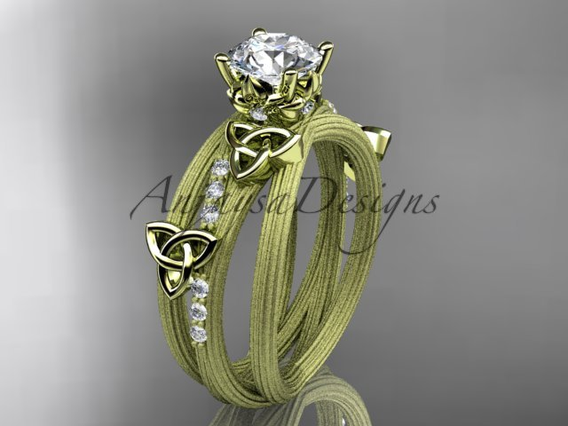 14kt yellow gold diamond celtic trinity knot engagement ring with a Moissanite center stone CT7329