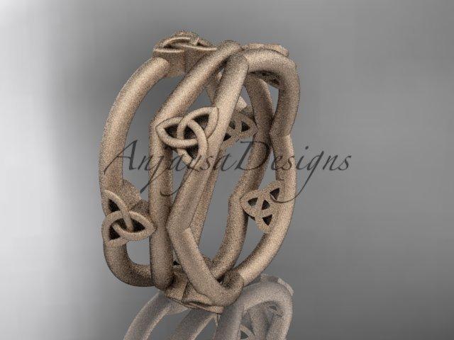 14kt rose gold celtic trinity knot wedding band, matte finish wedding band, engagement ring CT7350G