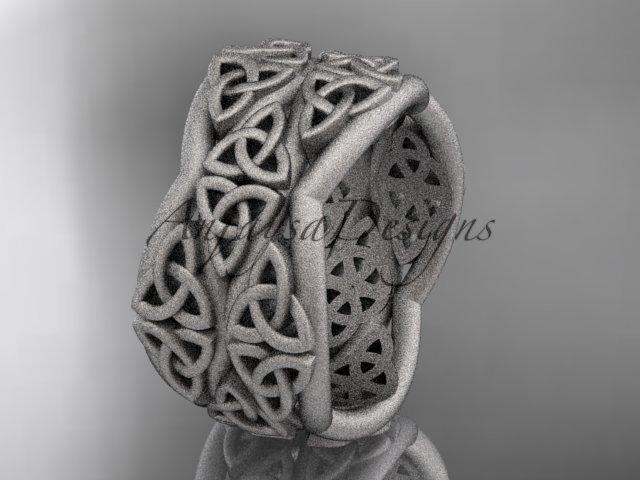 14kt white gold celtic trinity knot wedding band, matte finish wedding band, engagement ring CT7352G
