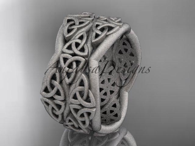 platinum  celtic trinity knot wedding band, matte finish wedding band, engagement ring CT7352G