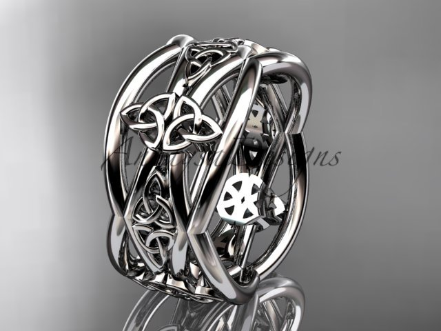14kt white gold celtic trinity knot wedding band, engagement ring CT7519G