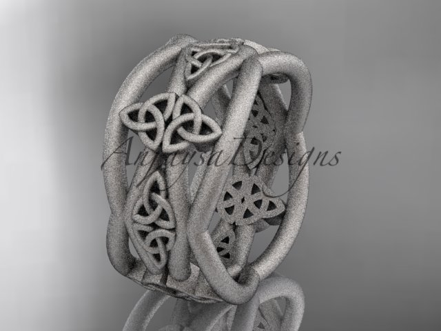 14kt white gold celtic trinity knot wedding band, matte finish wedding band, engagement ring CT7519G