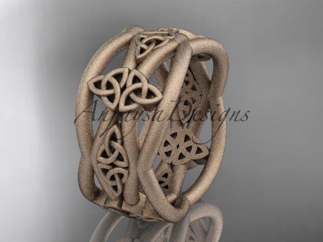 14kt rose gold celtic trinity knot wedding band, matte finish wedding band, engagement ring CT7519G