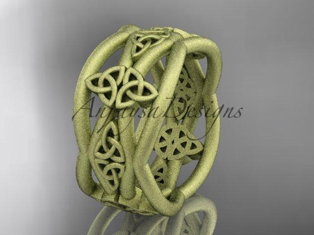 14k yellow gold celtic trinity knot wedding band, matte finish wedding band, engagement ring CT7519G