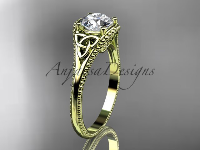 14kt yellow gold celtic trinity knot wedding ring, engagement ring CT7375