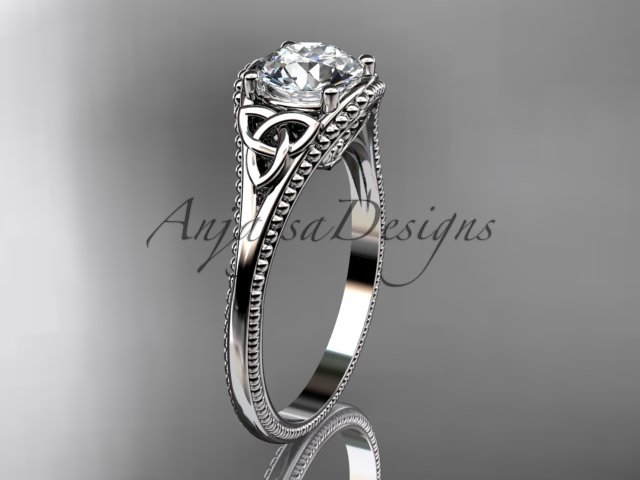 platinum  celtic trinity knot engagement ring with a Moissanite center stone CT7375