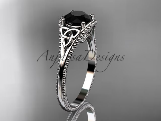 14kt white gold celtic trinity knot engagement ring with a Black Diamond center stone CT7375