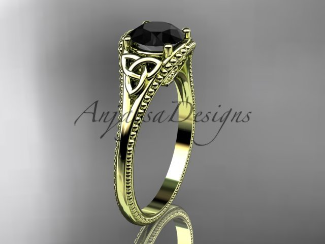 14kt yellow gold celtic trinity knot engagement ring with a Black Diamond center stone CT7375
