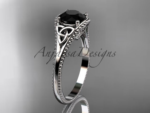 platinum celtic trinity knot engagement ring with a Black Diamond center stone CT7375
