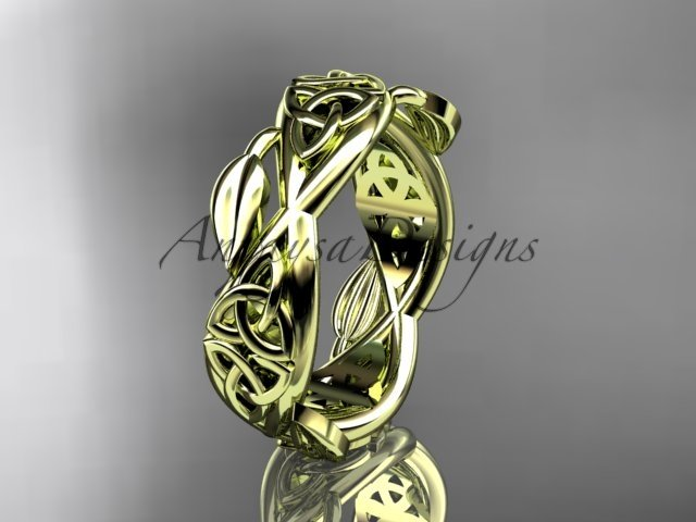 14kt yellow gold celtic trinity knot wedding band, triquetra ring, engagement ring CT7520G