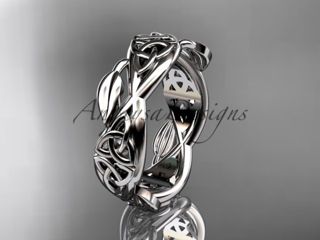 Platinum  celtic trinity knot wedding band, triquetra ring, engagement ring CT7520G