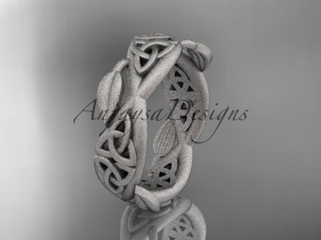 14kt white gold celtic trinity knot , matte finish , triquetra ring engagement ring CT7520G