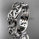 14kt white gold celtic trinity knot wedding band, triquetra ring, engagement ring CT7392G