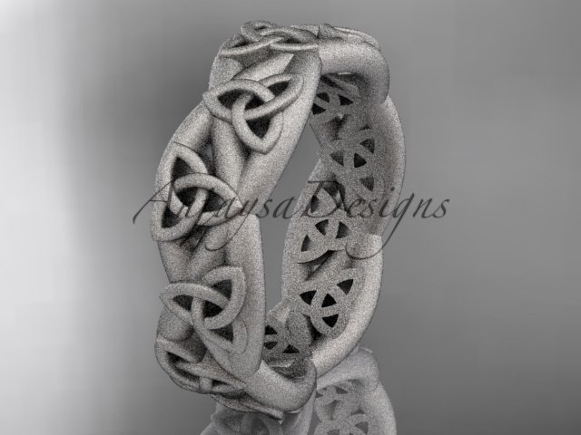 14kt white gold celtic trinity knot, matte finish triquetra ring, engagement ring CT7392G